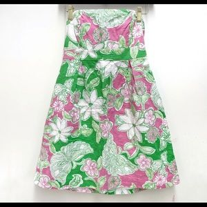 Lilly Pulitzer strapless dress pink green white 4